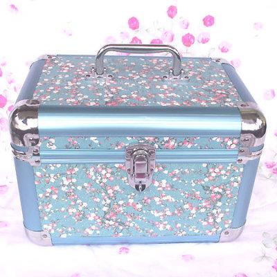 Blue Makeup Bag With Flower Patterns