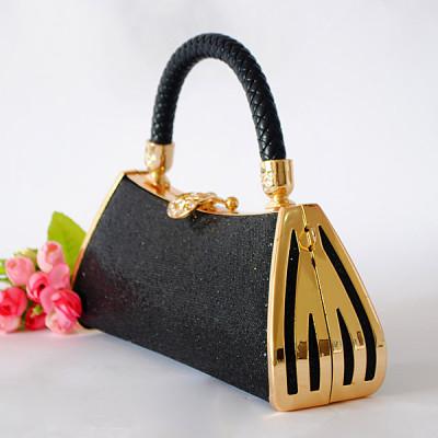 Black Princess Evening Handbag With Rhinestones
