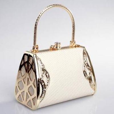 Cream-colored Princess Evening Handbag With Rhinestones