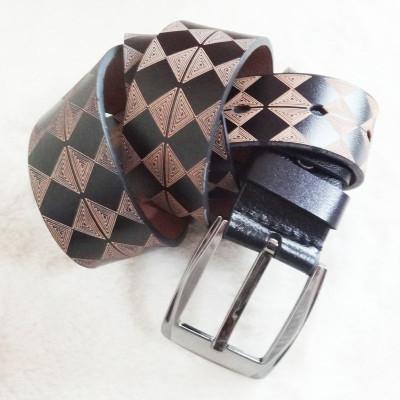 [Free Shipping] Genuine Leather Belt With Lozenge Patterns
