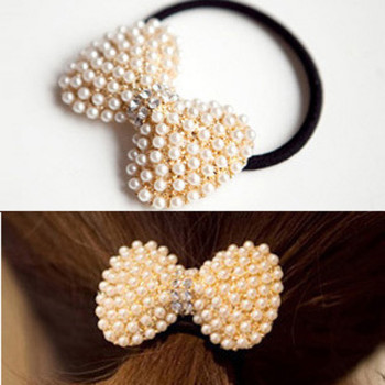 Free Shipping Exquisite Pearl Rhinestone Bow Headband