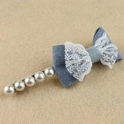 Free Shipping Lace Denim Pearl Bow Hairpin