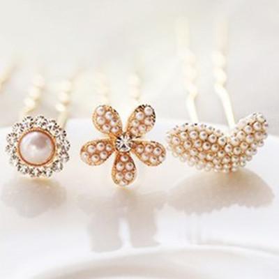 Free Shipping Diamond Pearl Diamond The Sunflowers Five Flower Hairpin