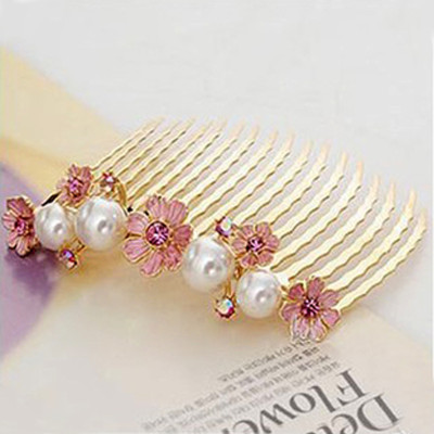 Free Shipping Elegant Fashion Pearl Petal Flower Comb Inserted Clip Hairpin