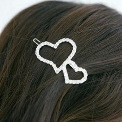 Free Shipping Full Diamond Double Heart Hairpin
