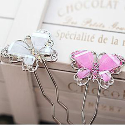 Free Shipping Sweet Butterfly Diamond Colorful Butterfly Hair Stick