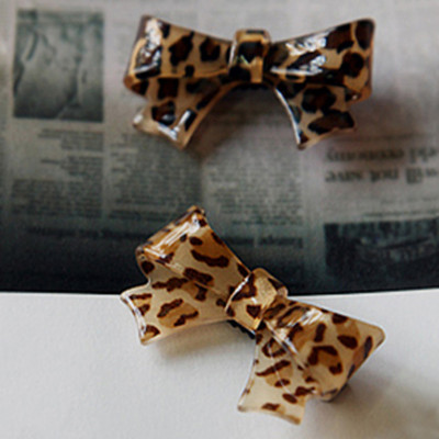 Free Shipping European And American Leopard Bow Duckbill Clip Hairpin