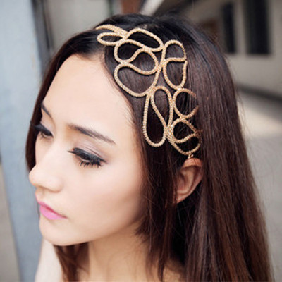 Free Shipping European And American Hollow Braided Hair With Golden Hairband