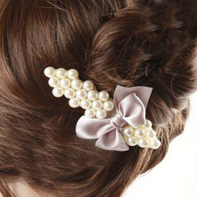 Free Shipping Elegant Pearl Hairpin With Bow Duckbill Clip