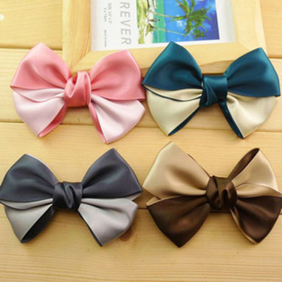Free Shipping Cute Personalized Two-color Bow Hairpin