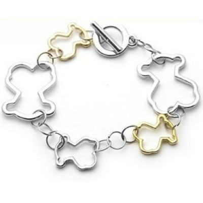 Free shippingFashion jewelry gold and Silver Tone Bracelet cute hollow bear simple girl