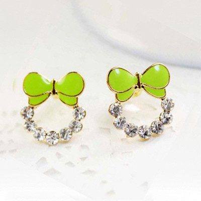 [Free Shipping] Jewelry Wholesale Candy Color Sweet Butterfly The Complex Earrings