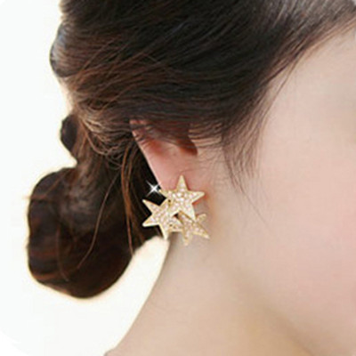 [Free Shipping] Jewelry Star Favorite Sweet, Cute Full Drill Three The Pentacle Star Earrings