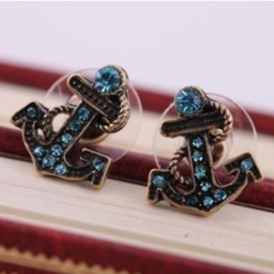 [Free Shipping] Jewelry Wholesale European And American Style Jewelry Exquisite Retro Anchor Diamond Earrings