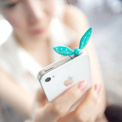 Free shipping the sweet the the jelly color the rabbit ears Shuiyu little bow shape dustproof plug iphone4