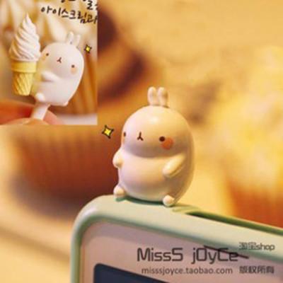 Free Shipping Korea potatoes rabbit iphone4 4s cartoon cute dimensional rabbit pig dust plug headphone jack