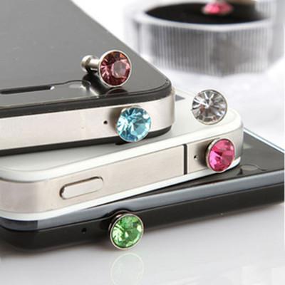 Free shipping Apple iphone4 4s ipad phone flash the diamond headset dust plug 8g