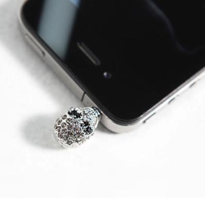 Free shipping Korean handsome cool the diamond skull Iphone Apple mobile phone accessories dustproof plug 7g