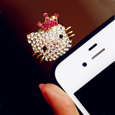 Free shipping Korean cute Meng rhinestones material kitty iphone phone headset dust plug over drilling 4g
