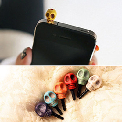 Free Shipping European and American jewelry retro punk skull phone headset dust plug the multicolor Universal 7g