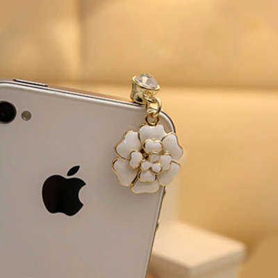 Free Shipping iphone Apple 4S camellias phone plug headphone plug dust plug 7g