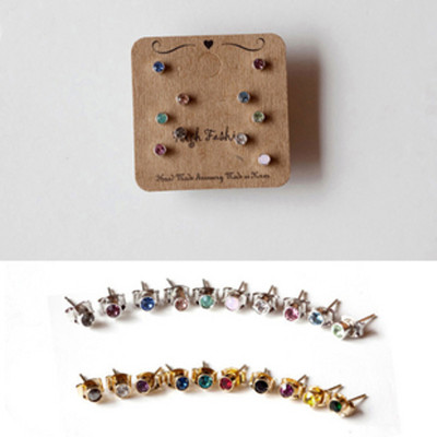 [ Free Shipping]Earrings Cute Candy Color Small Round Stones Ten Sets  Earrings