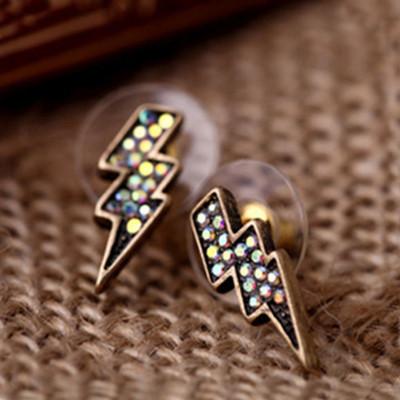 [ Free Shipping] Earrings Diamond Jewelry Wholesale European And American Retro Explosion Models Mini Earrings Lightning
