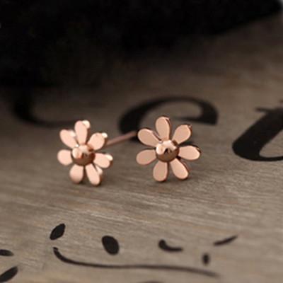 [ Free Shipping ] Jewelry Wholesale Jewelry Fresh, Minimalist Glossy Small Daisy Flower Earrings