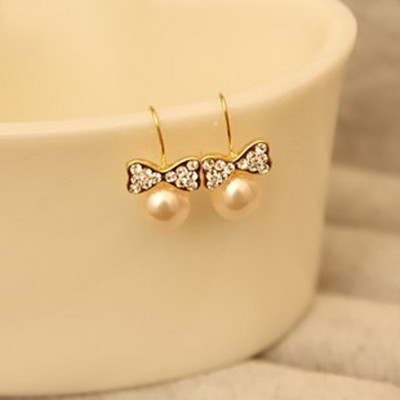 [ Free Shipping ]  Pearl Diamond Bow Chic Earrings