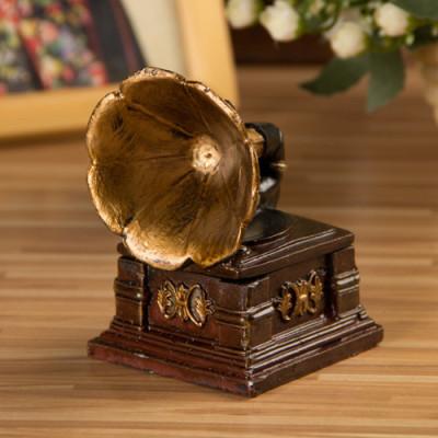 Retro Phonograph Model Resin Storage Box