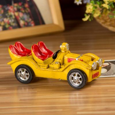 Yellow Resin Retro Classic Cars Model Nostalgic Ornaments Gift