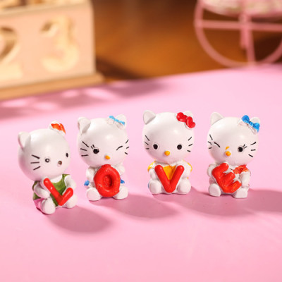 the zakka grocery LOVE series ornaments desktop ornaments / resin doll Kay sings cat family of four