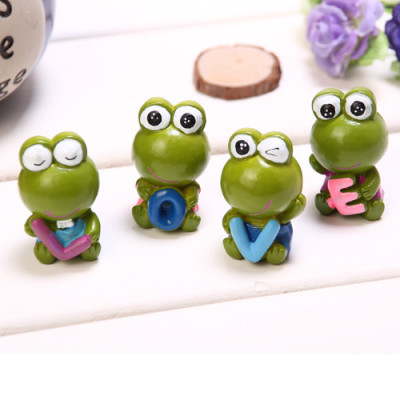 zakka grocery LOVE series ornaments desktop ornaments / resin doll frog family of four