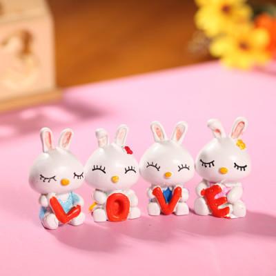 the zakka grocery LOVE Series Decoration Desktop Decoration / resin doll LOVE mini rabbit family of four
