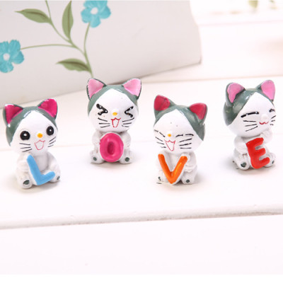 the zakka grocery LOVE Series Decoration Desktop Decoration / resin doll LOVE cheese cat family of four
