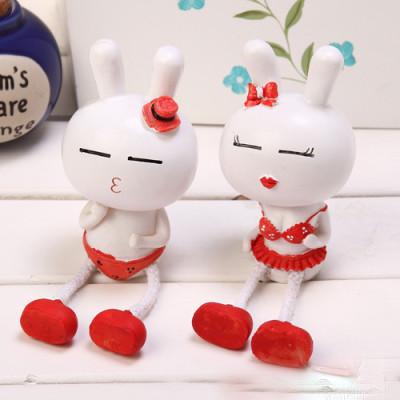 couple series of ornaments of the the zakka groceries couple Tuzki resin cartoon / doll Piece