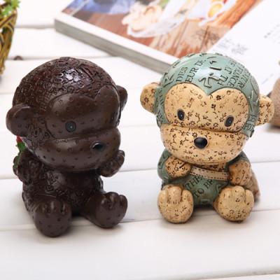the zakka ornaments cute monkey couple series resin piggy bank Desktop Decoration Piece