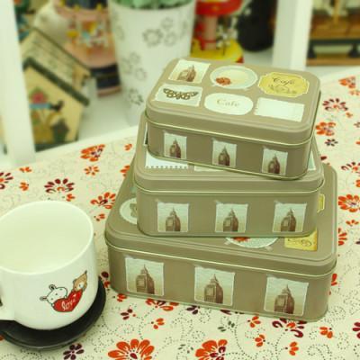 European Household Items Urban Silhouette Pattern Storage Box Three-piece Tinplate Selling