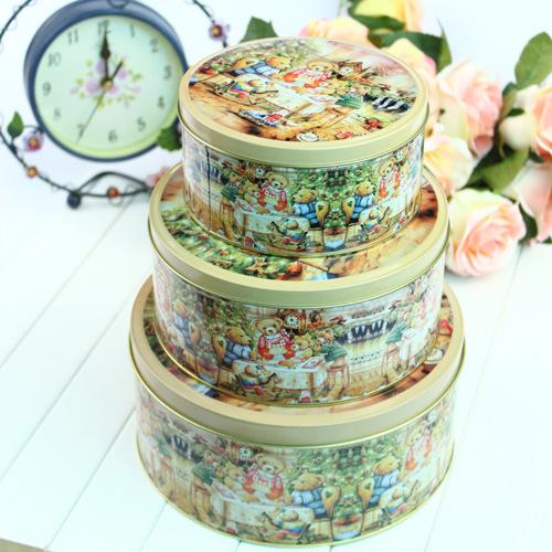 Three-piece Circular Storage Tin Biscuit Box