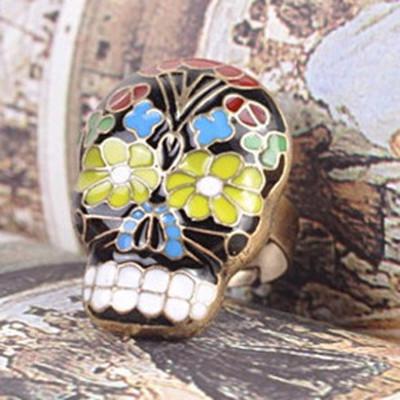 [Free Shipping]M40104 wholesale jewelry European and American retro fashion at the beginning of Beijing opera mask bone skull ring ring 5g