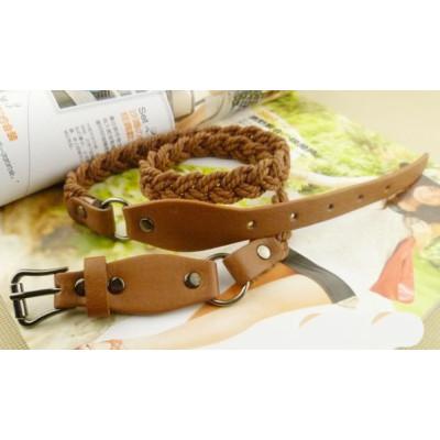 Factory direct sales all-match weaving fine belt lady belt women knit double belt