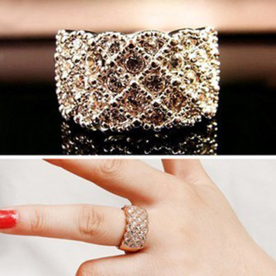 [Free Shipping]M40080 European and American jewelry upscale luxury wide version exaggeration full of diamond crystal rings female 4g