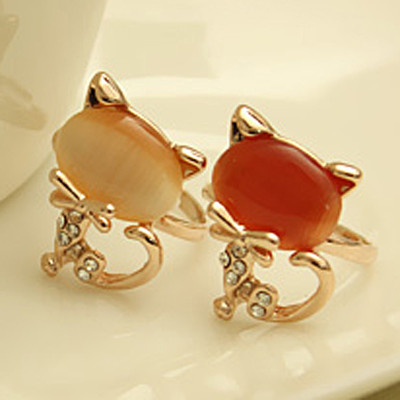 [Free Shipping]M40163 fashion little cat rhinestone ring of the trinkets chaomeng opal ring opening