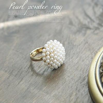 [Free Shipping]M40085 2012 new retro elegant temperament mushroom head of white pearl ring ring female