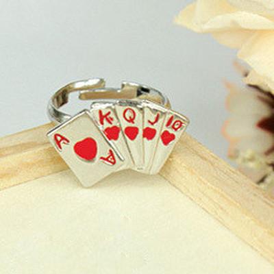 [Free Shipping]M40067 jewelry wholesale Korean Stylish spades poker opening Ring Ring 7g