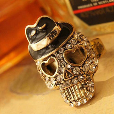 [Free Shipping]M40118 Europe and the United States foreign trade jewelry skull black hat Ring Ring 2012 explosion models 10g