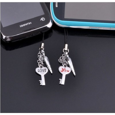 Free Shipping Mobile phone pendant LOVE YOU key chain lovers mobile phone chain creative Valentine's Day gift  fashion