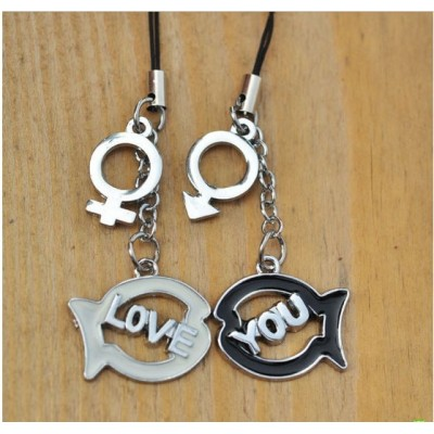 Free Shipping Mobile phone pendant LOVE YOU fish fashion lovers mobile phone chain creative Valentine's Day gift