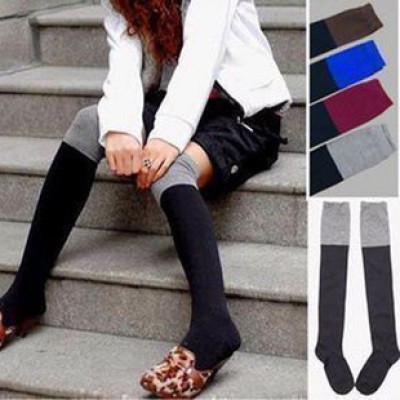single the color Houmian closing legs were legs knitted cotton stockings knee socks color socks 58g