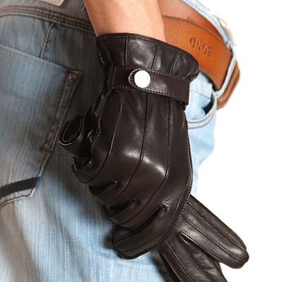New Back Spent Adjusting Buckle Men's Leather Gloves
